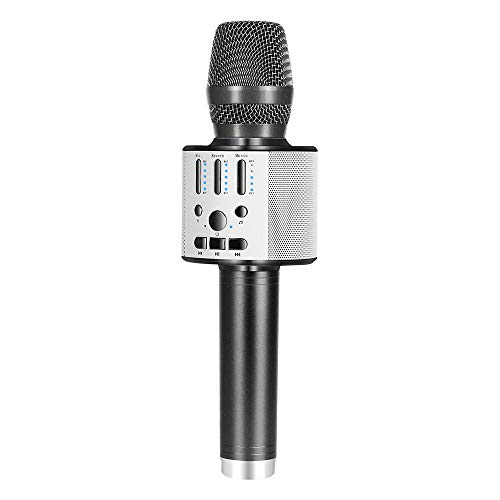 BONAOK 【2019 Upgraded 】Bluetooth Wireless Karaoke Microphone, Portable handheld Rechargeable Karaoke Machine Speaker with Stereo Sound Party Home Birthday Gift for all iPhone/Android/PC(Space Gray) (Best Karaoke Machine With Auto Tune)
