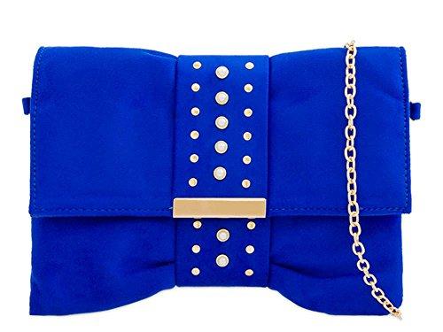 Bleu clous faux pochette pour Roi Small DIVA à femme 's daim pour neuf Sac main détail haute OH4Y6wqWw