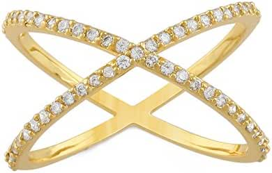 JanKuo Jewelry Gold Plated Micro Pave Cubic Zirconia Criss Cross X Ring