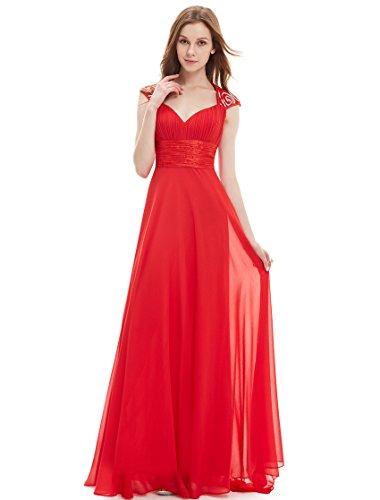 Ever Pretty Juniors Floor Length Trailing Sequins Empire Waist Prom Dress 4 US Vermillion