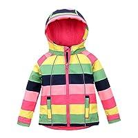 Hiheart Girls Fleece Jackets Striped Outwear Rainbow Hooded Windproof Jacket 5T