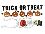 Nantucket H Trick or Treat Halloween Pumpkins and Top Hat Skeleton Gel Charms Window Clings Bundle Set of 2