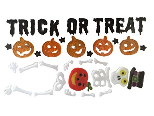 Nantucket H Trick or Treat Halloween Pumpkins and Top Hat Skeleton Gel Charms Window Clings Bundle Set of -