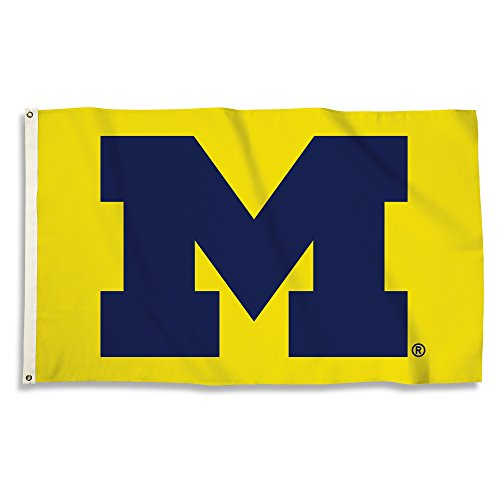 NCAA Michigan Wolverines 3 X 5 Foot Flag with Grommets, Navy, - Michigan Wolverines 3x5 Flag