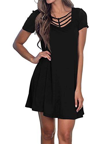 - Fanfly Women's Summer Short Sleeve Swing T Shirt Dress Criss Cross Neckline Casual Loose Tunic Dress Black