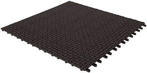 Baldosas flexibles de plástico, 55,5 x 55,5 cm, interior y exterior, de drenaje y jardín autobloqueantes piezas, negro: Amazon.es: Jardín