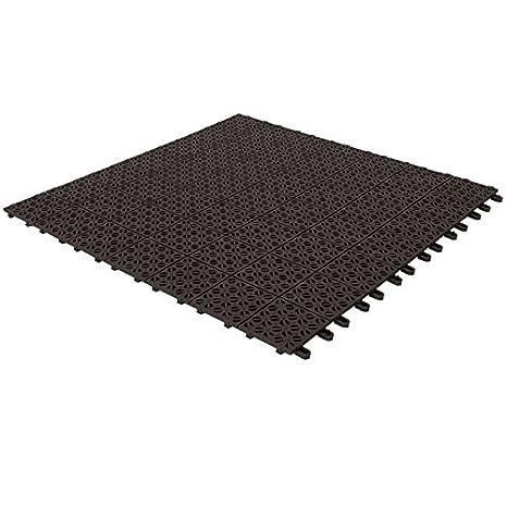 Baldosas flexibles de plástico, 55,5 x 55,5 cm, interior y exterior, de drenaje y jardín autobloqueantes piezas, gris Digiplastics