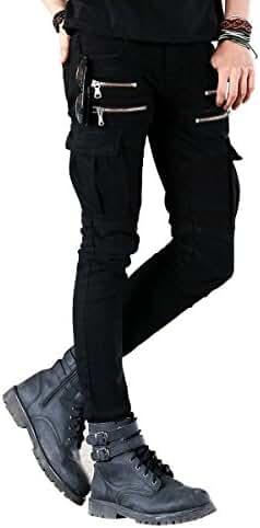 BUSTBB Mens Stretch Slim Fit Denim Biker Jeans Pants With Zippers