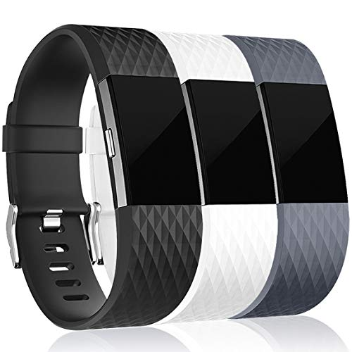 Maledan Replacement Bands for Fitbit Charge 2, Accessory Sport Wristbands Band Compatible for Fitbit Charge 2 HR Women Men, 3-Pack, Black/White/Grey, Small