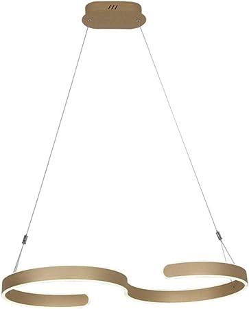 LED Lámpara Colgante Atenuable mesa de comedor Luces colgante Forma de S Diseño Lámparas de araña sala de estar Curvado Lámpara de Techo cable 100cm con Control Remoto para comedor de oficina,Oro: