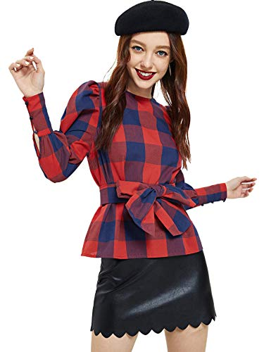 WDIRA Women's Long Sleeve Self Tie Front Checkered Shell Top Blouse Burgundy XS