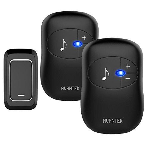 -[ Wireless Doorbell, AVANTEK Digital Loud Door Bell Kit, 1000ft / 300m Range, 1 Touch Button &