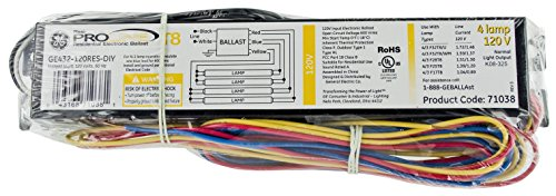 GE Lighting 93885 4-Lamp T8 120 Volt Residential Electronic Ballast (Electronic Residential Ballast)
