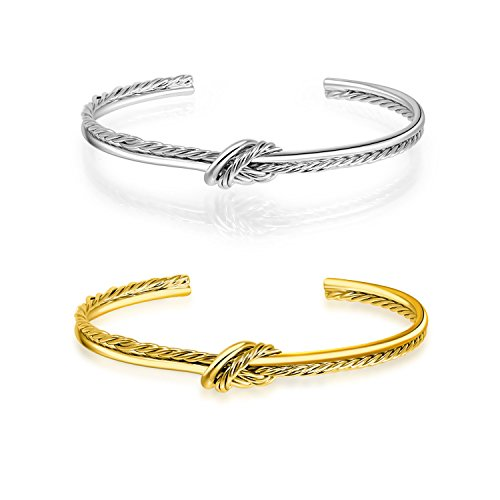 636d7a93103 I'S ISAACSONG 14k Gold Plated Adjustable Cable Wire Twisted Band Infinity  Love Forever Knot Open Cuff