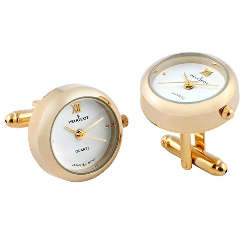 Peugeot Real Working Watch Cufflink Cuff Links for Him (14K Gold/White)