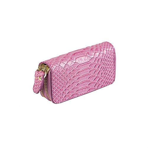 Key Wallet Holder Missingift Key Pouch Wallet Women Double Zipper Key Ring Genuine Leather Coin Purse 6+1 Hooks 12 x 6.5cm Key Case Holder (Six Hook Key Case)