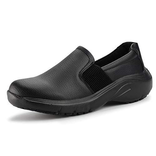 Hawkwell Women's Lightweight Comfort Slip Resistant Nursing Shoes,Black PU,8 M US