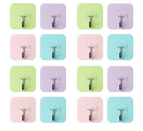 Reusable Heavy Duty Wall Hooks, FOURCHEN 16 Packs 4Color support minimum 22lbs, Waterproof Seamless Sticky Hook for Bathroom, Kitchen ,Wall towel hooks, Ceiling Hanger hook,Towel hook No (Support Hooks)