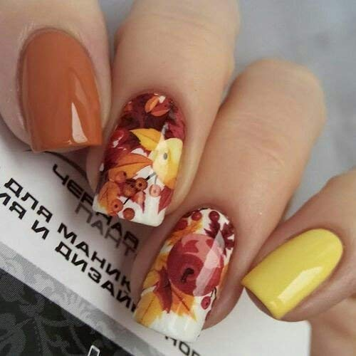 Decal Maple Set - 12 sets maple leaf yellow leaves chipmunks farmhouse decor NAIL DECALS water transfer thanksgiving decor nail stickers tattoo nail FOILS acrylic nail accessories nail vinyls