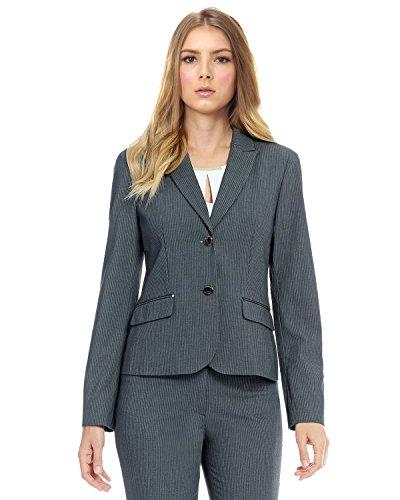 Calvin Klein Women's Petite Size 2 Button Pinstripe Jacket, Charcoal/White, 10P (Separates Petite Suit)