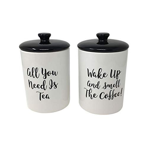 (SET OF 2 ALL YOU NEED TEA WAKE UP SMELL COFFEE BLACK ROUND CERAMIC STORAGE JARS)
