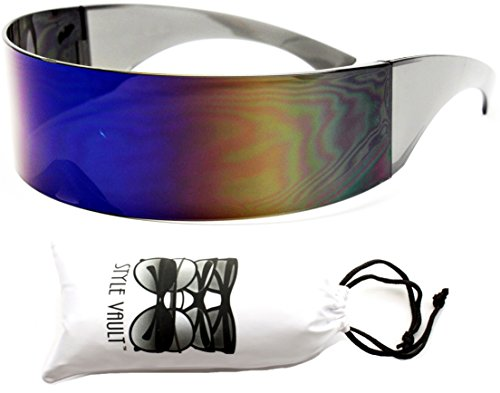 V138-vp Robocop Robot Censored Party Sunglasses (1521D 2# Blue Rainbow, - Shades Sunglasses Alien