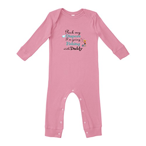 Cute Rascals Pack My Diapers I'm Going Fishing with My Daddy Cotton Envelope Neck Unisex Baby Legged Long Rib Coverall Bodysuit - Soft Pink, 6 Months from Cute Rascals