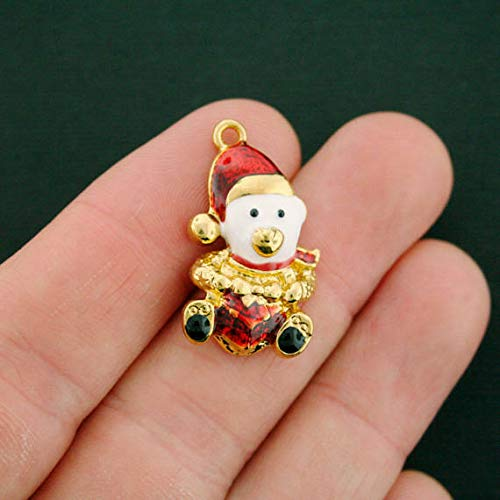 - Great Selection 2 Christmas Bear Charms Gold Plated Enamel Festive and Fun - E503 Build Your Designs