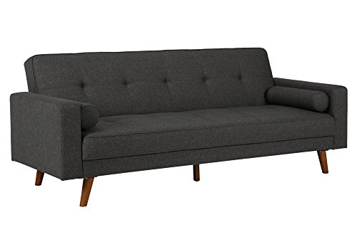 DHP Sunset Hills Futon, Mid Century Design with Tufted Back and Seat, Converts to Sleeper, Grey (Sunset Linen)