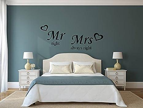 Muro sticker vivente mr right and mrs always right stanza removibile