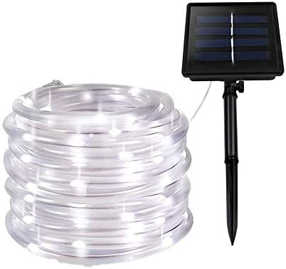 XUNATA Solar String Lights, 40FT Solar Rope Lights, 8 Modes 100 LED Outdoor Lighting Rope, Waterproof Copper Wire Rope String Light for Outdoor Indoor Home Garden Patio Parties White