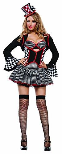 Starline Women's Mayhem Hatter Sexy 5 Piece Cosplay Costume Set, Black, Medium ()