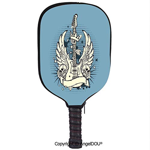 AngelDOU Guitar Waterproof Zipper Single Pickleball Paddle Racket Cover Case Rock n Roll Composition Crown Wings Skulls Stars on Retro Grunge Backdrop for for Most Rackets.Pale Blue Ivory Black