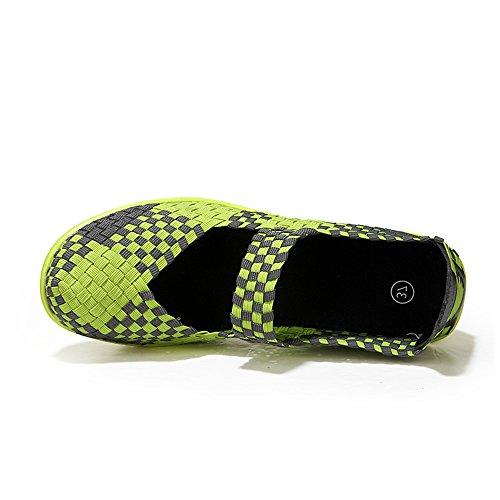 EnllerviiD Women Wedge Mary Jane Sandals Closed Toe Weave Platform Heel Sandals Shoes 889-3 Green ALRav5AcN3