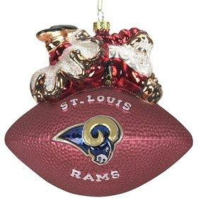 St. Louis Rams 5 1/2'' Peggy Abrams Glass Football Ornament