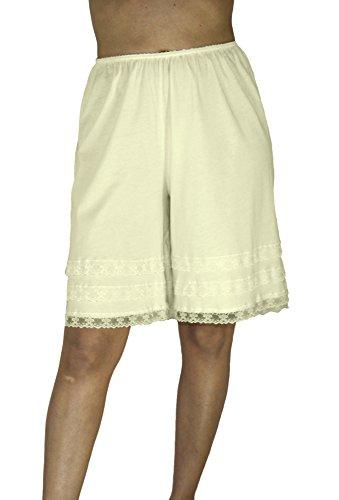 Underworks Cotton Knit Snip-A-Length Pettipants Culotte Slip Bloomers Split Skirt Large-Beige