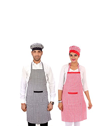 Switchon Cotton Kitchen Apron with Front Pocket Combo PACK OF 2