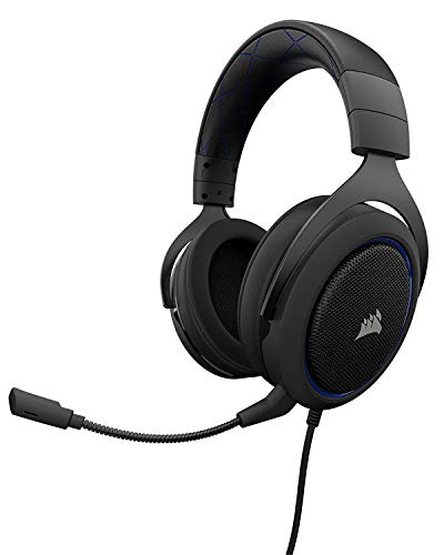 CORSAIR HS50 - Stereo Gaming Headset - Discord Certified Headphones - Designed to Work with Playstation 4 (PS4) - Blue
