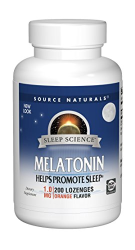 (Source Naturals Melatonin 1mg, Orange, for Occasional Sleeplessness, 200 Sublingual Tablets)