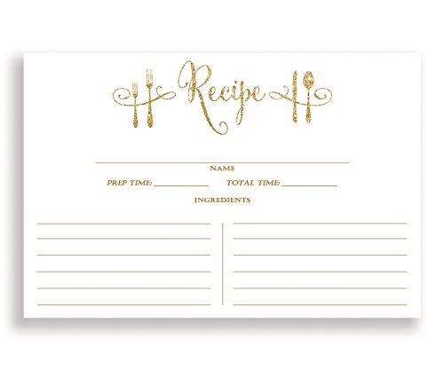 White and Gold Recipe Cards  4x6 inches. Double Sided Thick
