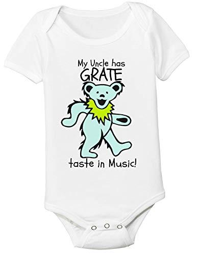 (Grateful Dead Baby Custom My Uncle Aunt Mom Dad has Grate Taste in Music Bodysuit Onesie with Dancing Bear Toddler Kids Tee)