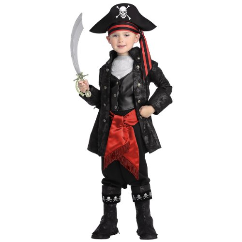[Pirates of the Seven Seas Child's Captain Black Costume, Medium] (Toddler Boys Pirate Costumes)