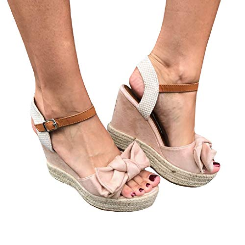 Liyuandian Womens Platform Espadrille Wedges Open Toe High Heel Sandals with Ankle Strap Buckle Up Shoes (9 M US, C Pink)]()
