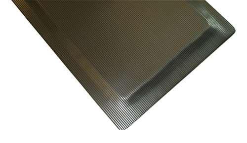 Rhino Mats ETT420DSB Ribbed Vinyl Easy Kleen Anti-Fatigue Mat, 4' Width x 20' Length x 7/8'' Thickness, Black by Rhino Mats