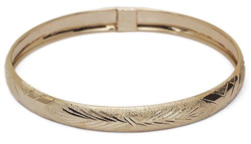 8 Inch 10k Yellow Gold bangle bracelet Flexible Round with Diamond Cut Design - Design Bracelet Diamond Gold Cut