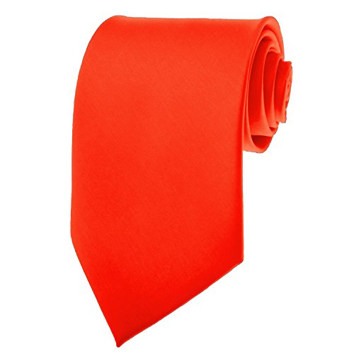 Bright Red Necktie SOLID Mens Neck Tie Satin by K. (Bright Red)