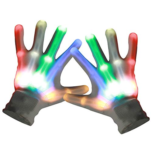 Zooawa LED Flashing Gloves, Colorful Finger Lighting Toys, 6 Light Flashing Modes Gloving for Halloween, Clubbing, Dancing Show, Costume Party, Rainbow -