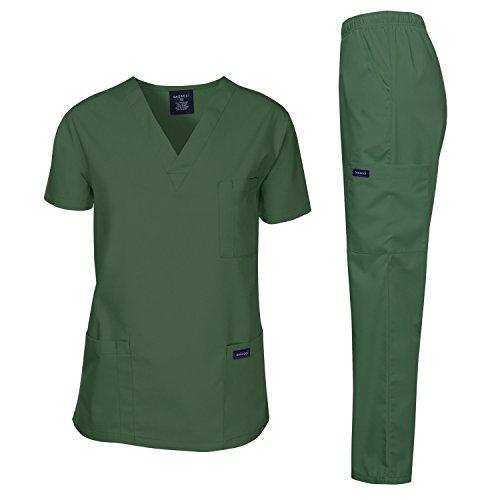 Dagacci Scrubs Medical Uniform Men Scrubs Set Medical Scrubs Top and Pants (Medium, Hunter Green)