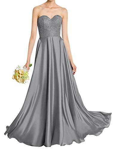 Steel Bess Women Evening Sweetheart Bridal s Grey Long Chiffon Lace Prom Dress Bridesmaid wxwOBq