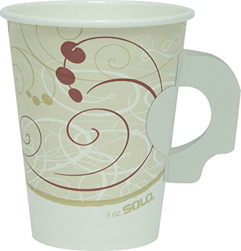 SOLO 378HSM-J8000 Single-Sided Poly Paper Hot Cup with Handle, 8 oz. Capacity, Symphony (Case of 1,000)
